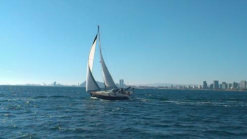 Sailboat off the coast of Barcelona