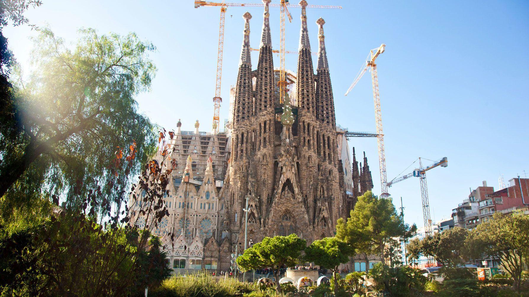La Sagrada Familia gothic-style cathedral in Barcelona