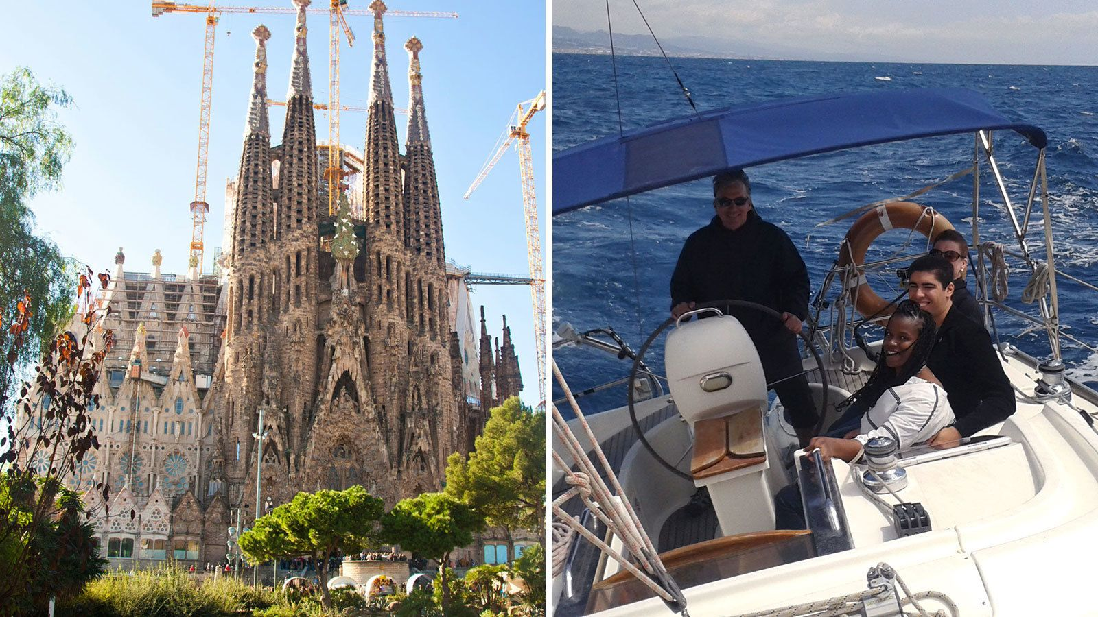 Split image of La Sagrada Familia cathedral and a sailing group on a boat off the coast of Barcelona