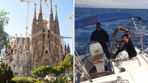 Split image of La Sagrada Familia cathedral and a sailing group on a boat off the coast of Barcelona