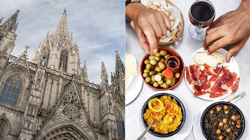 combo image of tapas and city view