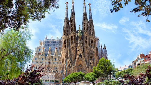 Beautiful exterior view of The Sagrada Familia.