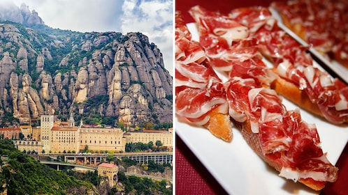 combo image of Montserrat and tapas