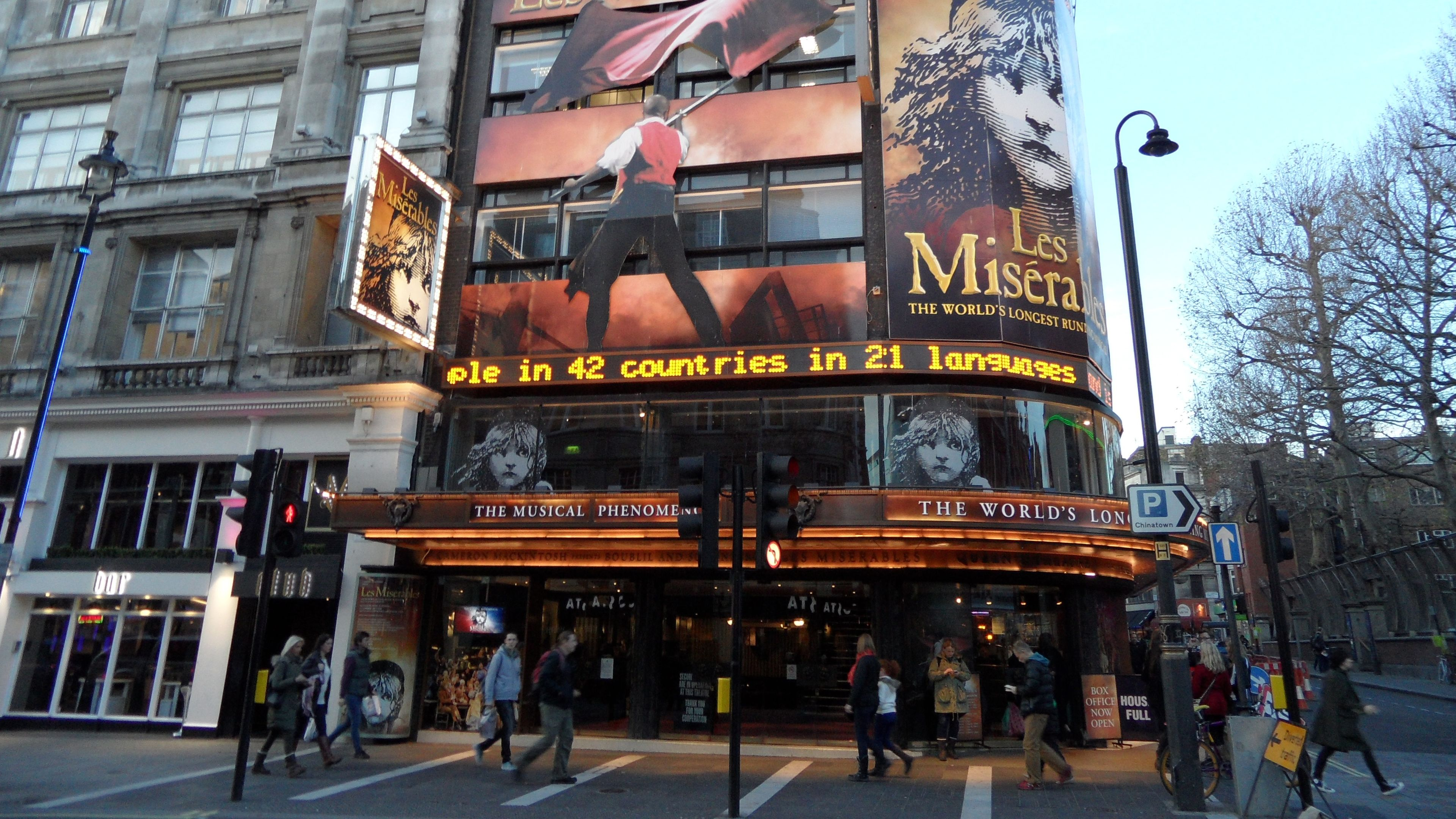An english theater playing Les Miserables