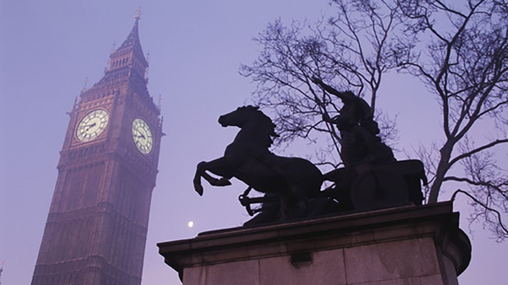 Big Ben from Below in Fog