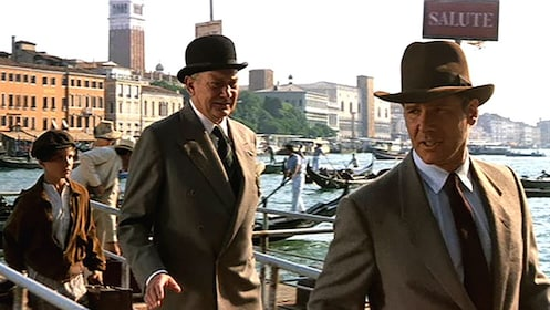 Still of Harrison Ford in Venice for the movie Indiana Jones and the Last Crusade