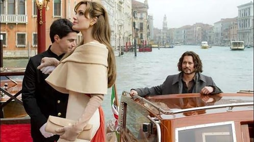 A still from a movie with Johnny Depp and Angelina Jolie in Venice.