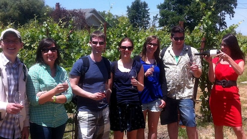 Tour group enjoying wine at a vineyard in Sonoma Valley