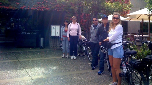 Bicycling group at a winery in Sonoma Valley