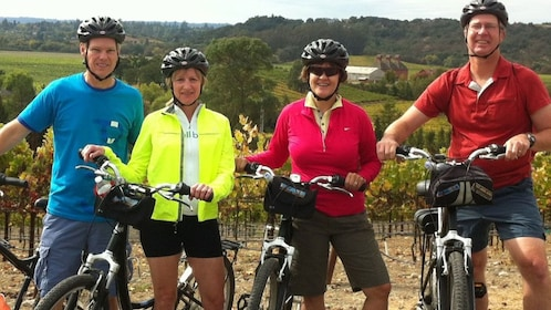 Bicycling group at a vineyard in Sonoma Valley