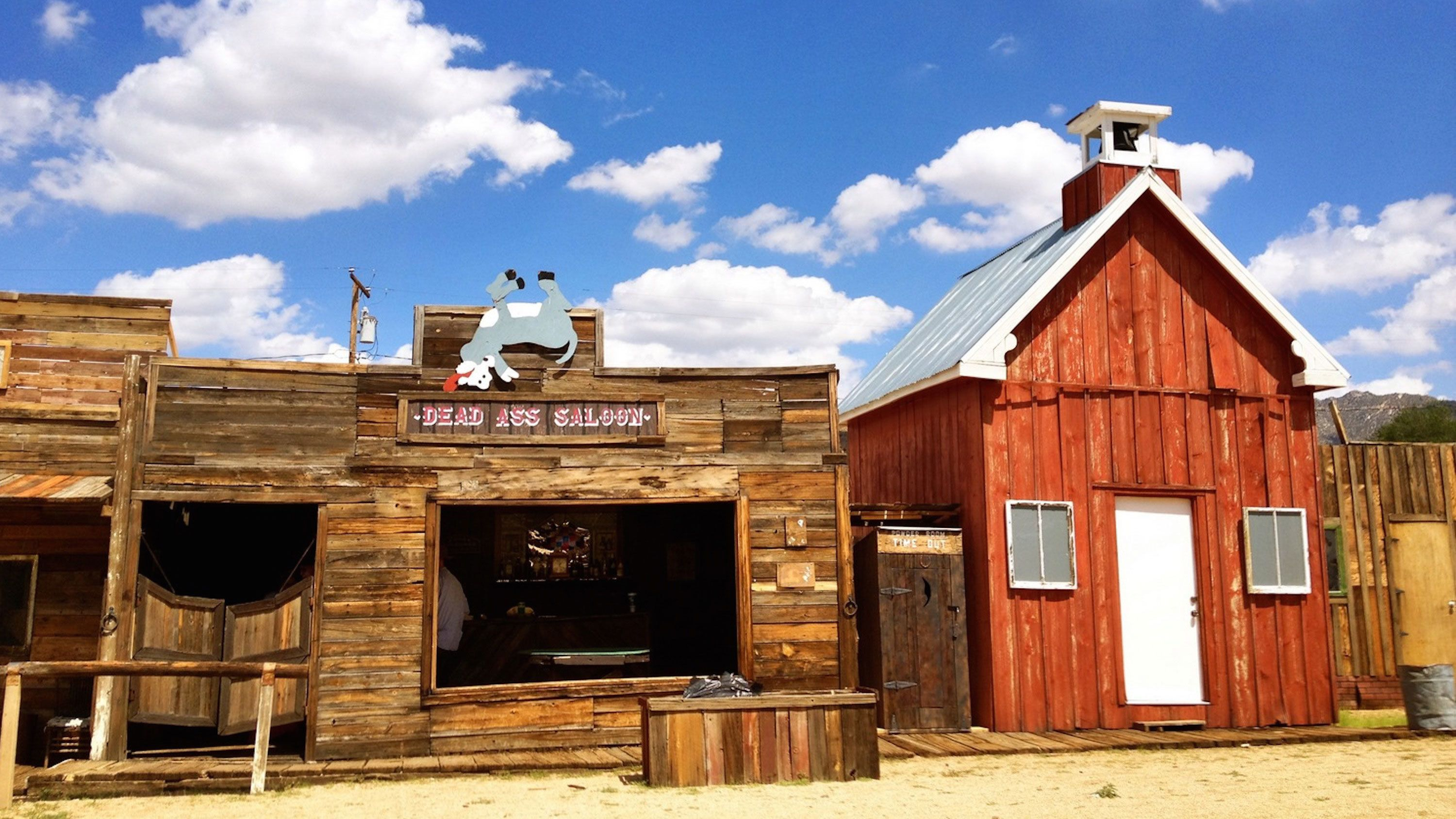Saloon and other buildings in a ghost town