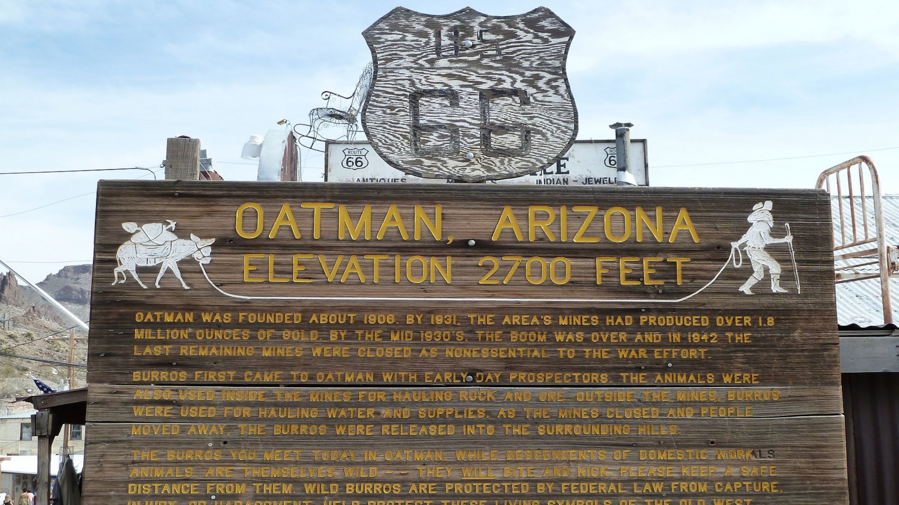 Sign along route 66 in Arizona