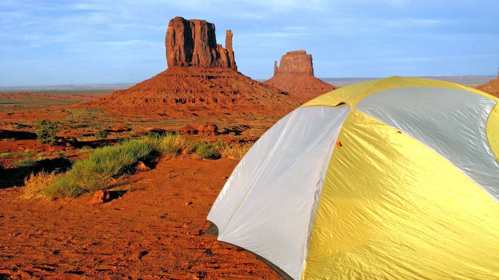 Show item 1 of 5. a pitched tent at Grand Canyon
