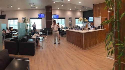 View inside the Mera Business Lounge at the Cancun Airport in Merida, Mexico