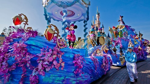 parade float with mouse character