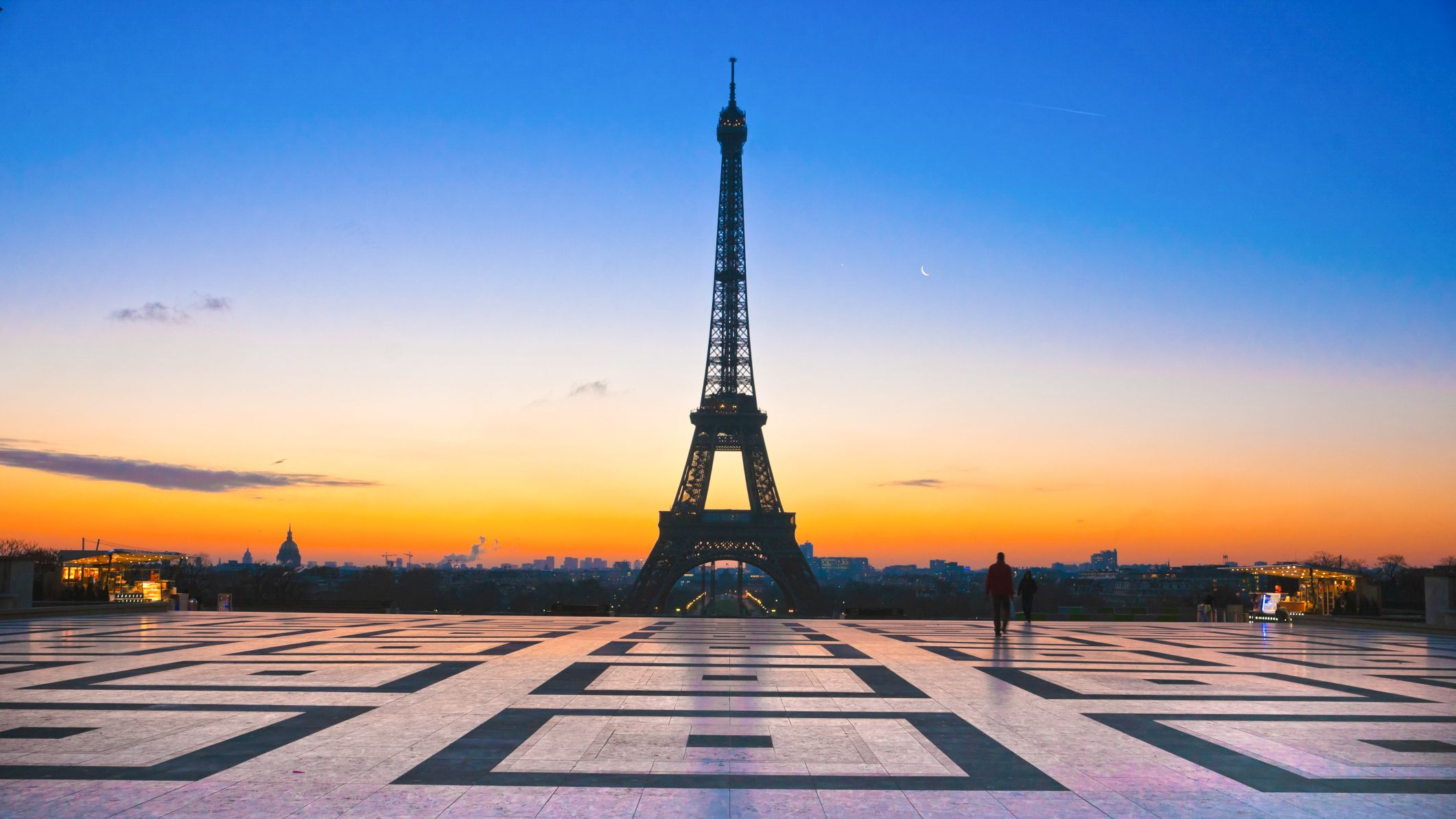 Beautiful view of Eiffel Tower at sunset.