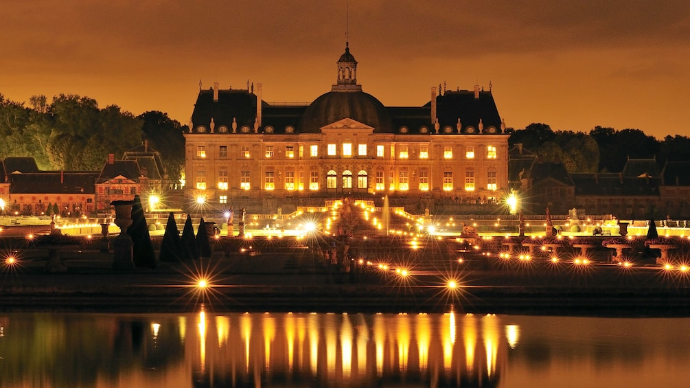 Show item 9 of 9. Vaux-le-Vicomte lit up at night