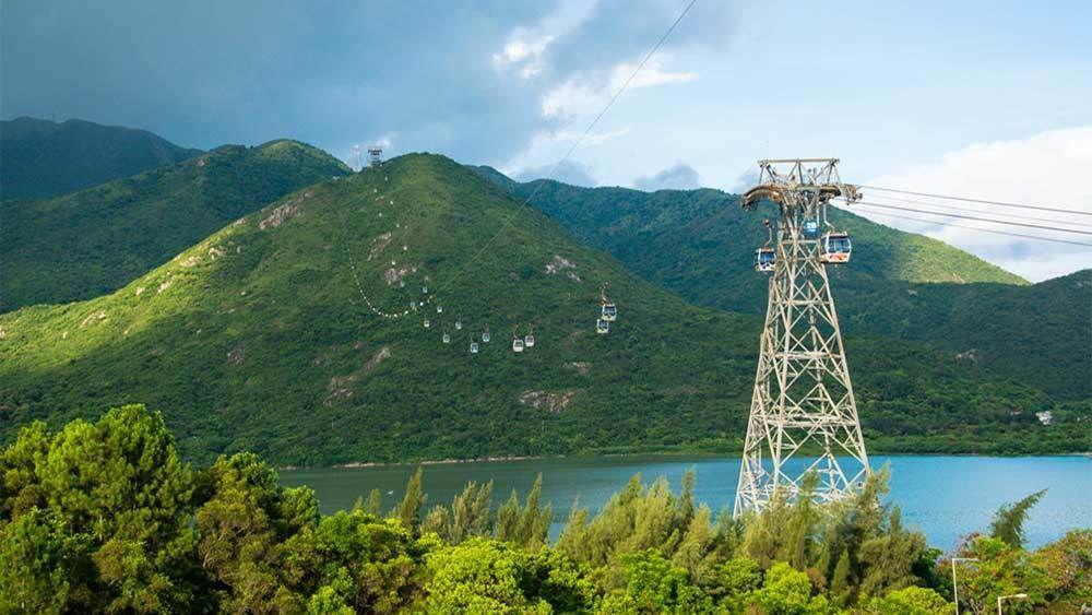 Beautiful panoramic view of gondolas in Hong Kong
