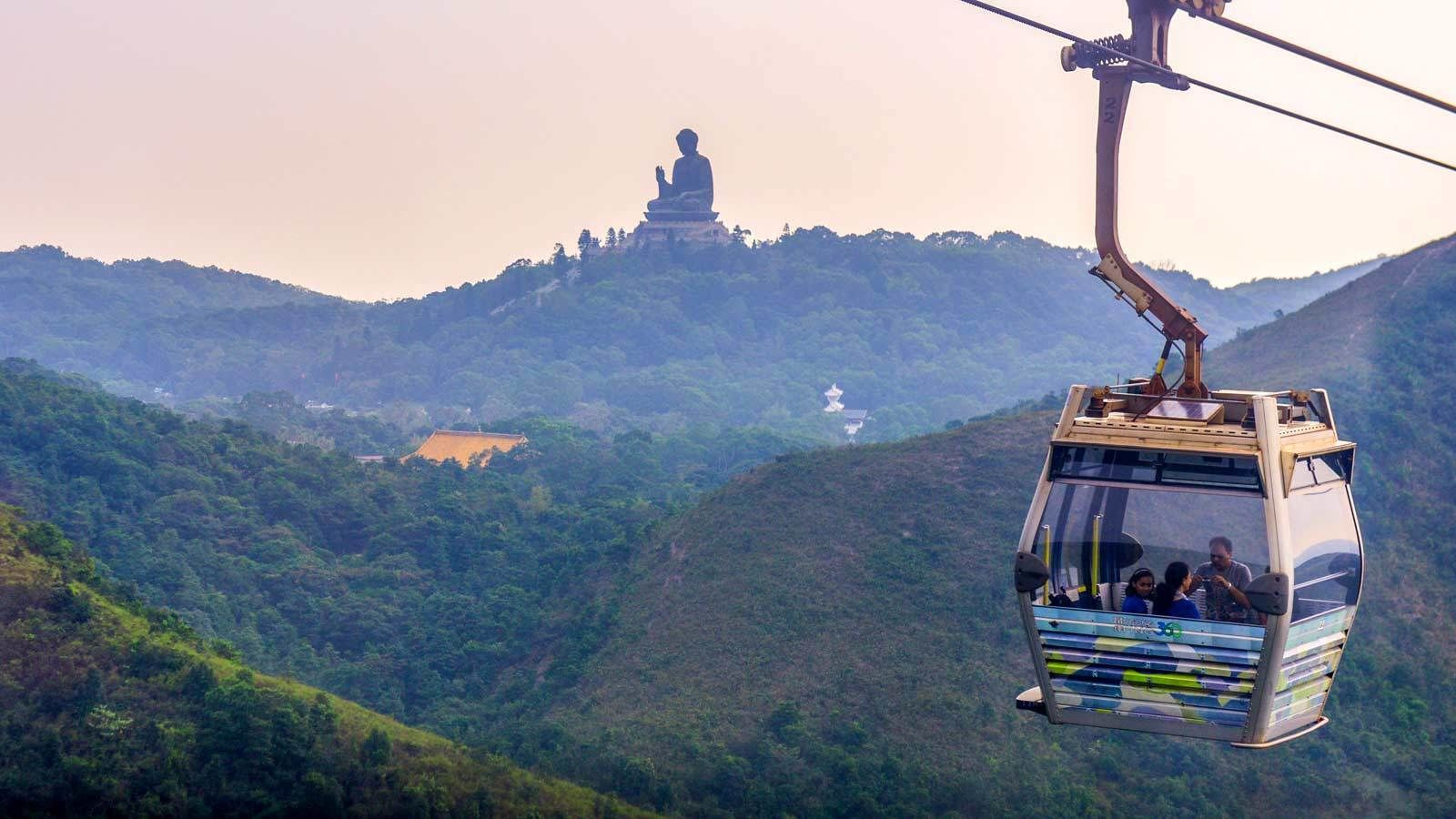 Close up of a gondola overlooking beautiful Hong Kong