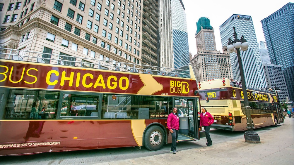 Show item 3 of 10. double deck bus parked on the street in Chicago