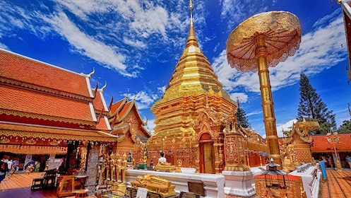 highly decorated golden temple in Thailand