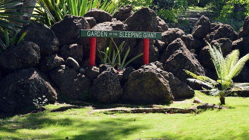 Sign for the Garden of the Sleeping Giant in Fiji