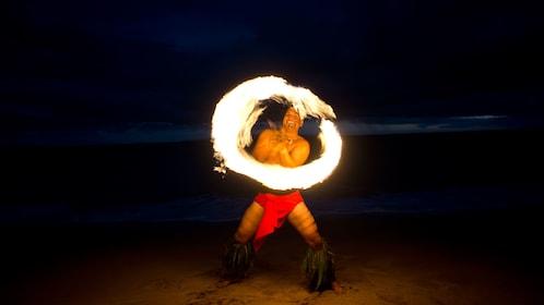 Fire dancer at a luau in Maui