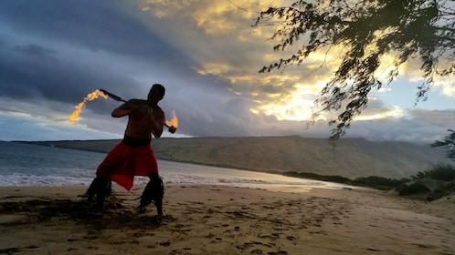 Fire show at the Huaka'i- Journey Through Polynesia activity Maui
