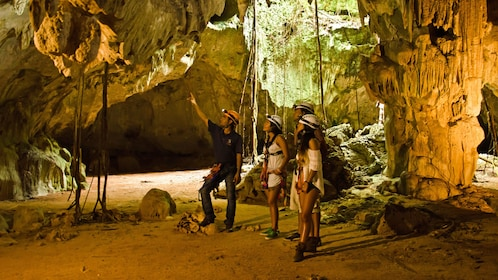 Spelunking group in a cave in Punta Cana