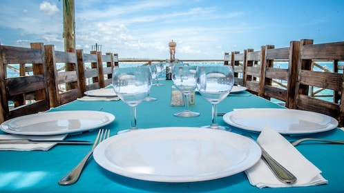 Dining area board the Ocean Spa boat in Dominican Republic (La Romana), Caribbean