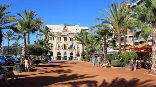 Plaza surrounded by buildings and palm trees in Costa Brava