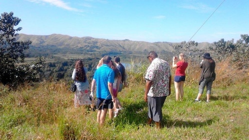 Tour group at a scenic lookout in Fiji