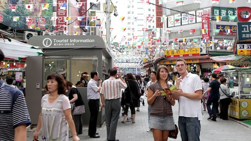 Crowded street in the Myeongdong shopping district in Seoul