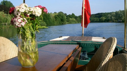 flowers on table of boat in oxford