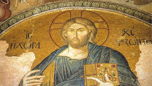 Close up of ancient artwork in Chora Church.