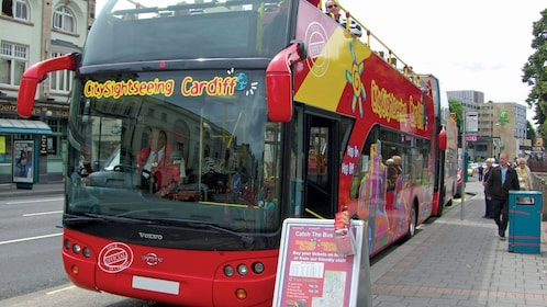 aboard a red double decker bus in Cardiff