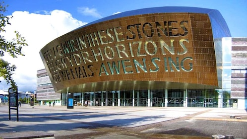 the metal clad facade of the Wales Millennium Centre in Cardiff