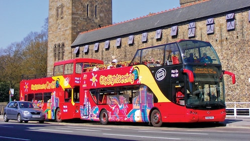 two red double decked bus in Cardiff