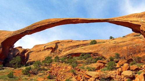 a wide spanning rock archway in Nevada