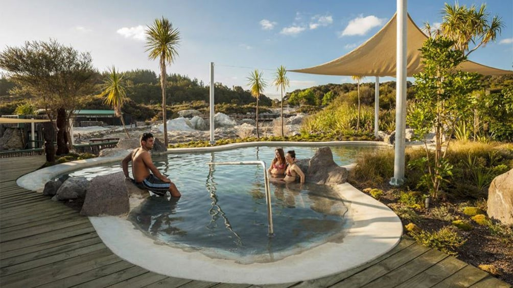 Show item 2 of 5. Scenic view of guests at the  Hells Gate Park Entry and Spa in Rotorua, New Zealand