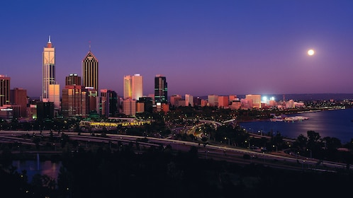 Aerial view of Perth at twilight.