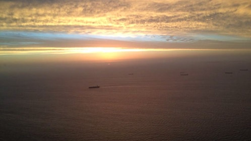 Helicopter view of sunset.
