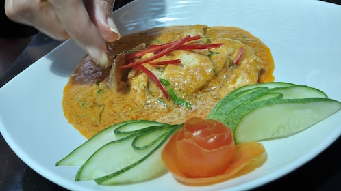 yellow sauce dish with vegetables