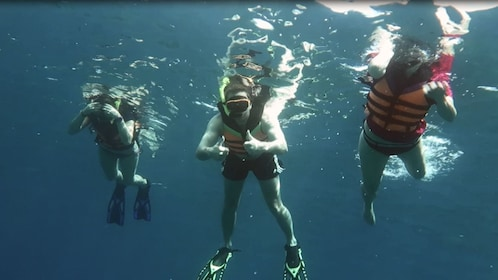 Group of people snorkeling, posing for photo underwater.