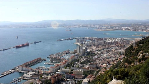 Panoramic view of coastline of Gibraltar