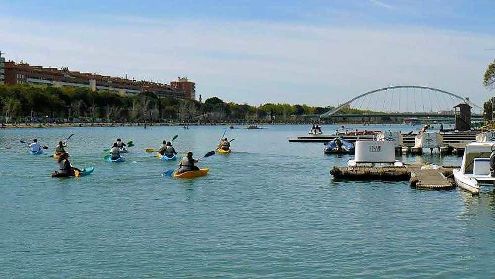 kayakers paddling in the water in Spain
