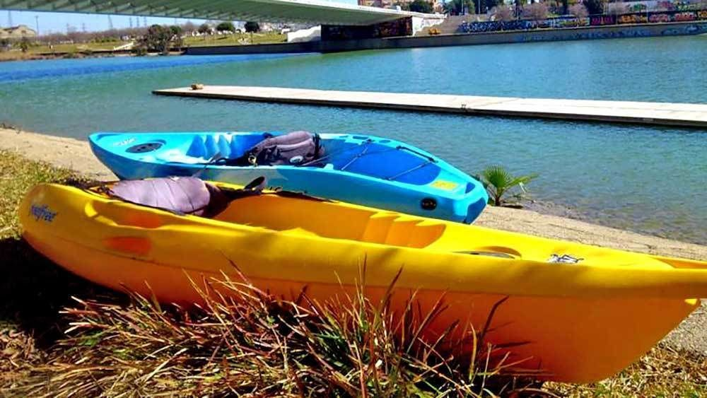 kayaks laying on the grass in Spain