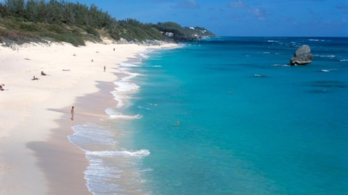 High angle view of tourists on the beach, Chaplin Bay, Bermuda