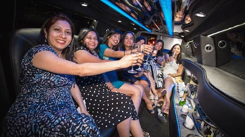 Group posing inside limo.