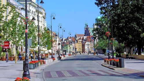 walking through the streets of Warsaw